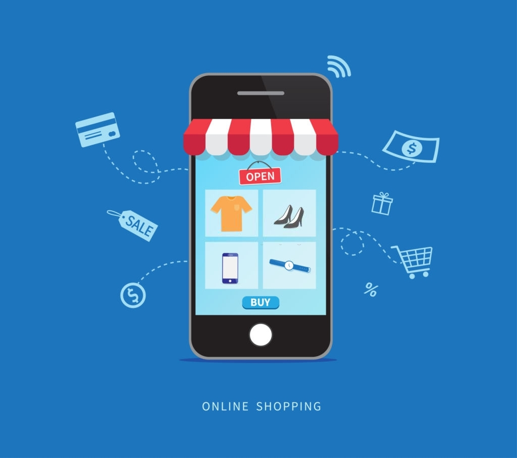 Online shopping with smartphone. E-commerce